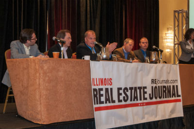 (left to right) Scott Bernstein (National Retrofitting Group), Bob Best (Jones Lang LaSalle), Dale Vanderlaan (Realogic Analytics), Geoff Kasselman (Opt2mize), Jeff Tovar (Tovar Snow Removal) and Melissa Podolsky (Podolsky | Circle, (standing))